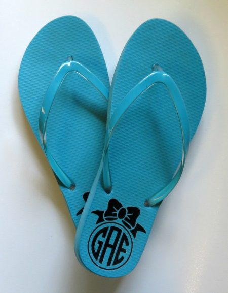 Monogram a set of flip flops for everyday wear or a special occasion.