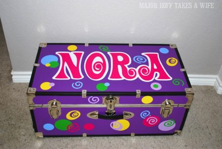 Personalized trunk for summer camp using vinyl and Cricut machine