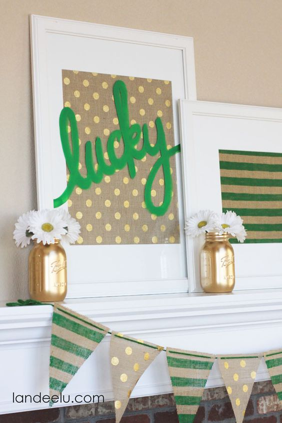 St. patrick's day canvas art made with Cricut