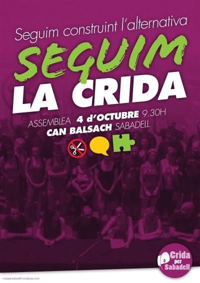 Assemblea dia 4 d'octubre a les 9:30 al centre civic de Cal Balsach