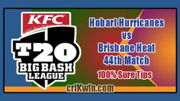 HBH vs BRH Match Reports BBL T20 44th 100% Sure Match Prediction