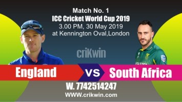 World Cup 2019 Match No. 1 ENG vs SA Win Prediction Tips