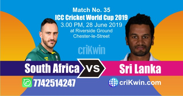 35th Match Sri Lanka vs South Africa World Cup 2019 Today Match Prediction