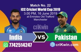 World Cup 2019 Pakistan vs India 22nd Match Win Prediction