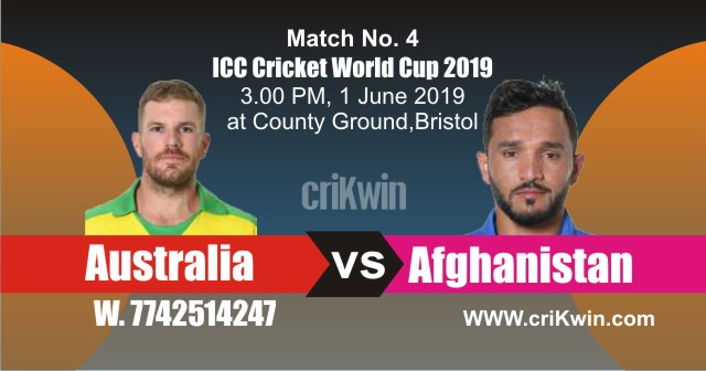World Cup 2019 Afghanistan vs Australia 4th Match Win Prediction