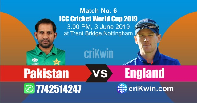 World Cup 2019 England vs Pakistan 6th Match Win Prediction