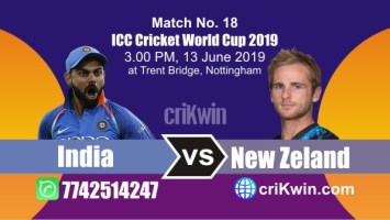 World Cup 2019 India vs New Zeland 18th Match Win Prediction