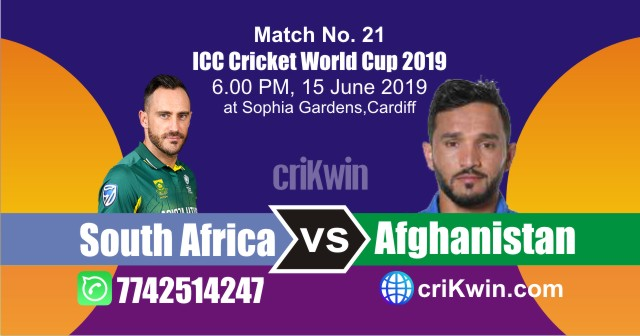 World Cup 2019 South Africa vs Afghanistan 21st Match Win Prediction