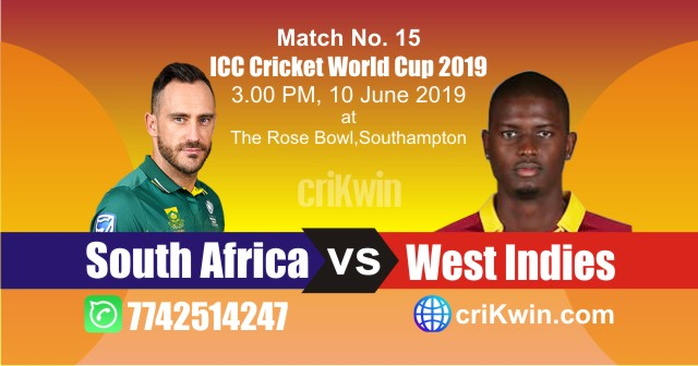 World Cup 2019 South Africa vs West Indies 15th Match Win Prediction