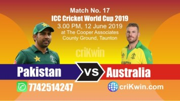World Cup 2019 Australia vs Pakistan 17th Match Win Prediction