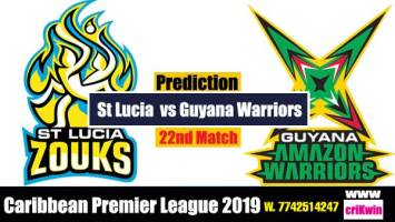 CPL 2019 Today Match Prediction Raja Babu Guayna vs St Lucia 22nd Match cricket win predictor GAW vs SLZ