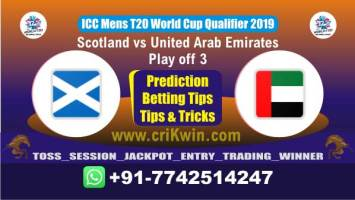 WC T20 Qualifier Today Match Prediction UAE vs SCO Play off Match Win
