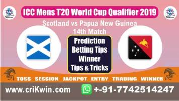 ICC T20 Qualifier 100% Sure Today Match Prediction PNG vs SCO 14th T20 Match Cricket True Astrology Winner Tips Toss Reports SCO vs PNG Who will win today