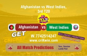 3rd T20 Today Match Prediction WI vs AFGH Match Who Will Win Toss