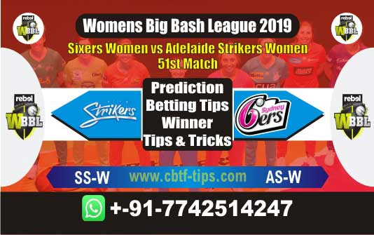 ASW vs SSW 51st Womens BBL 2019 Match Reports Betting Tips - CBTF