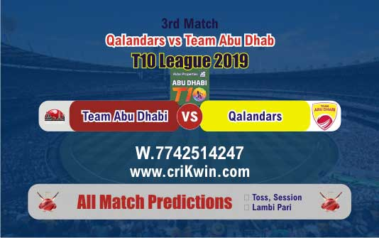 T10 2019 Today Match Prediction Abu Dhabi vs Qalandars 3rd Match Win