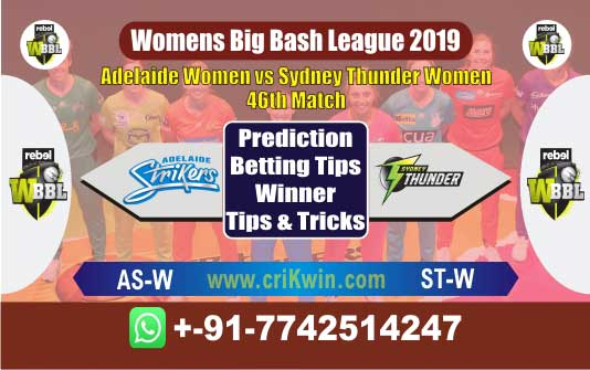 WBBL 2019 Today Match Prediction ST-W vs AS-W 46th Match Who Will Win