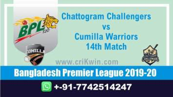 Chattogram Challengers vs Cumilla Warriors 14th Match Who will win today BPL T20 Cricket Match Prediction 100% Sure