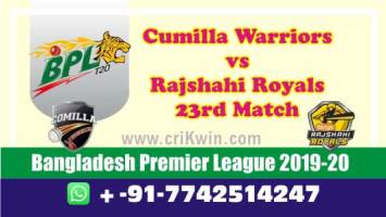 BPL 2020 Today Match Prediction RR vs CW 23rd 100% Sure Win Toss