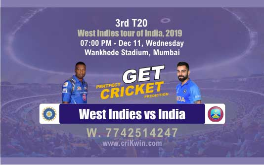Today Match Prediction IND vs WI 3rd T20 100% Sure Win Tips