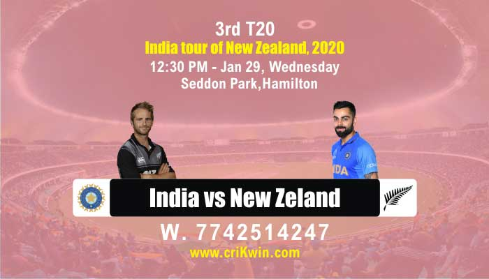 3rd T20 Ind vs NZ cricket win tips