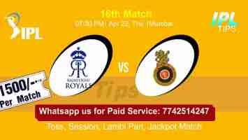 RR vs RCB IPL T20 16th Match 100% Sure Today Prediction Win Tips