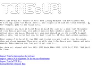 Dit is wat de hackers hebben gepost bij de gestolen gegevens.