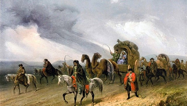 Литография Татары, путешествующие по степи