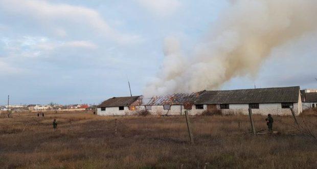Пожар в Феодосии. Горел заброшенный склад