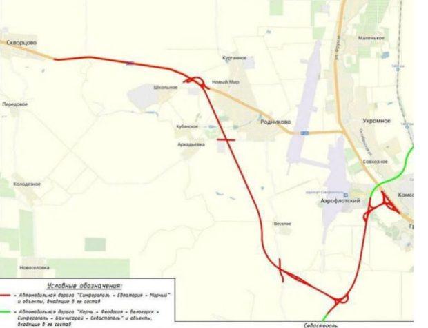 Как будет проходить дорога на Евпаторию в объезд аэропорта «Симферополь». Схема движения
