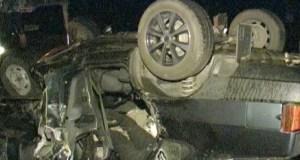 Ночное ДТП в Судаке. ВАЗ-21099 перевернулся и загорелся