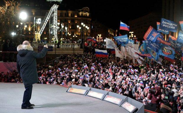 Митинг-концерт «Россия. Севастополь. Крым» в Москве. Что сказал людям Путин