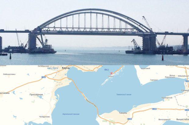 На автоподходах к Крымскому мосту установили информационные указатели