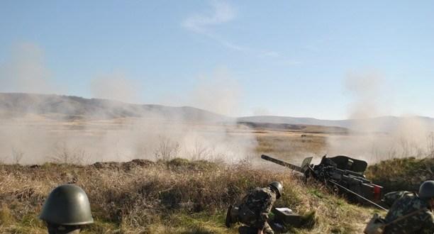 На полигоне «Ангарский», под Симферополем тренируется артиллерия Черноморского флота