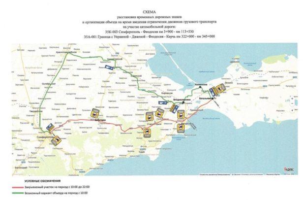 На трассе «Симферополь – Керчь» вводится ограничение для движения грузового транспорта