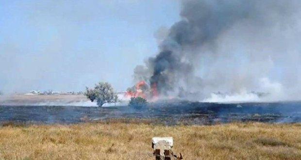 Под Севастополем, в районе поселка Кача горела сухая трава
