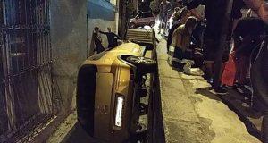Ночное ДТП в Ялте. Авто «втиснулось» между стеной… и стеной