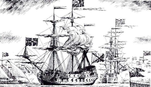 """Русский парусный линейный корабль """"Святой Александр"""" был построен в 1717 году"""