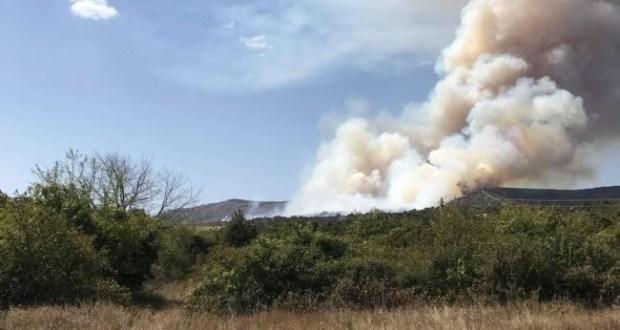 Лесной пожар на горе Агармыш, в районе Старого Крыма. Выгорело 20 гектаров