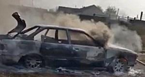 В Нижнегорском районе сгорел автомобиль. Дотла