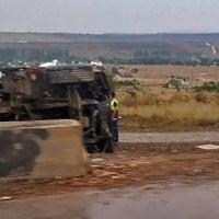 На трассе «Таврида» в Белогорском районе опрокинулся КАМАЗ