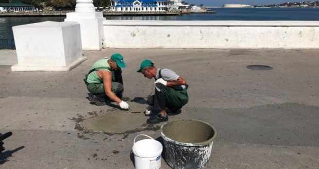 В Артиллерийской бухте Севастополя начался ремонт пешеходной зоны