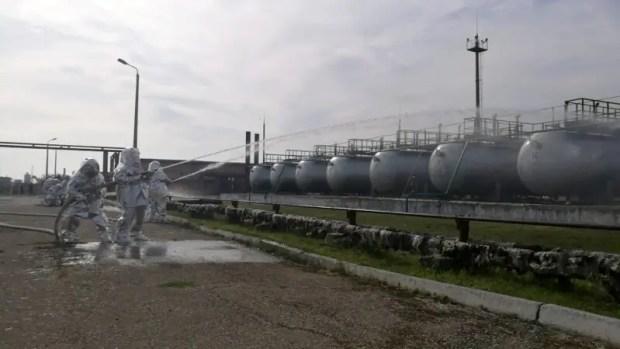 В Феодосии ликвидировали условный пожар на газонаполнительной станции