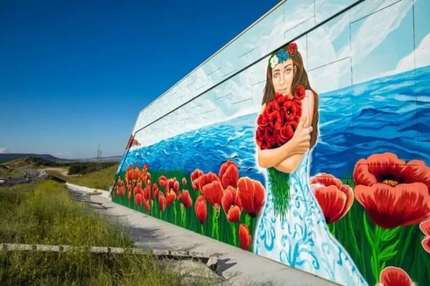 Художники арт-кластера «Таврида» ко Дню России нарисовали в Крыму огромный пейзаж