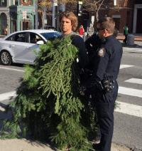 Video: Man Dressed As Tree Blocks Traffic
