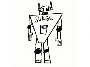 A drawing of Sugar the robot