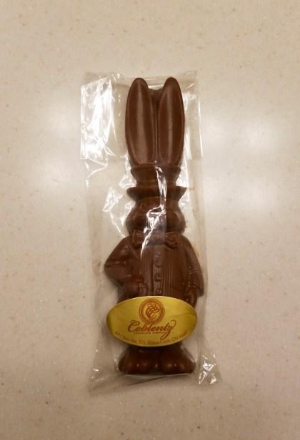 A chocolate bunny.