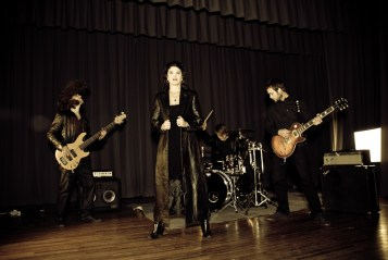 The Crimson Chrysalis band while shooting the music video for Crimson Passion Cry
