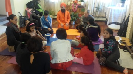 Yoga in the familiar atmosphere of te Ananda Marga Yoga Center in Flushing, New York