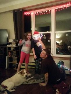 Trevor, Kenzie and Aidan being silly with the lights